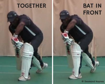 Desmond Haynes demonstrates different cricket bat positions in the forward defence